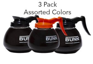 3 bunn decanters assorted colors decaf regular