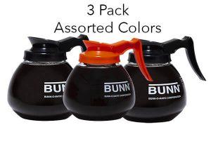 3 bunn decanters assorted colors decaf regular