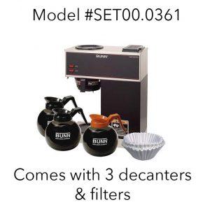 BUNN VPR #SET00.0361 2 warmers + 3 decanters